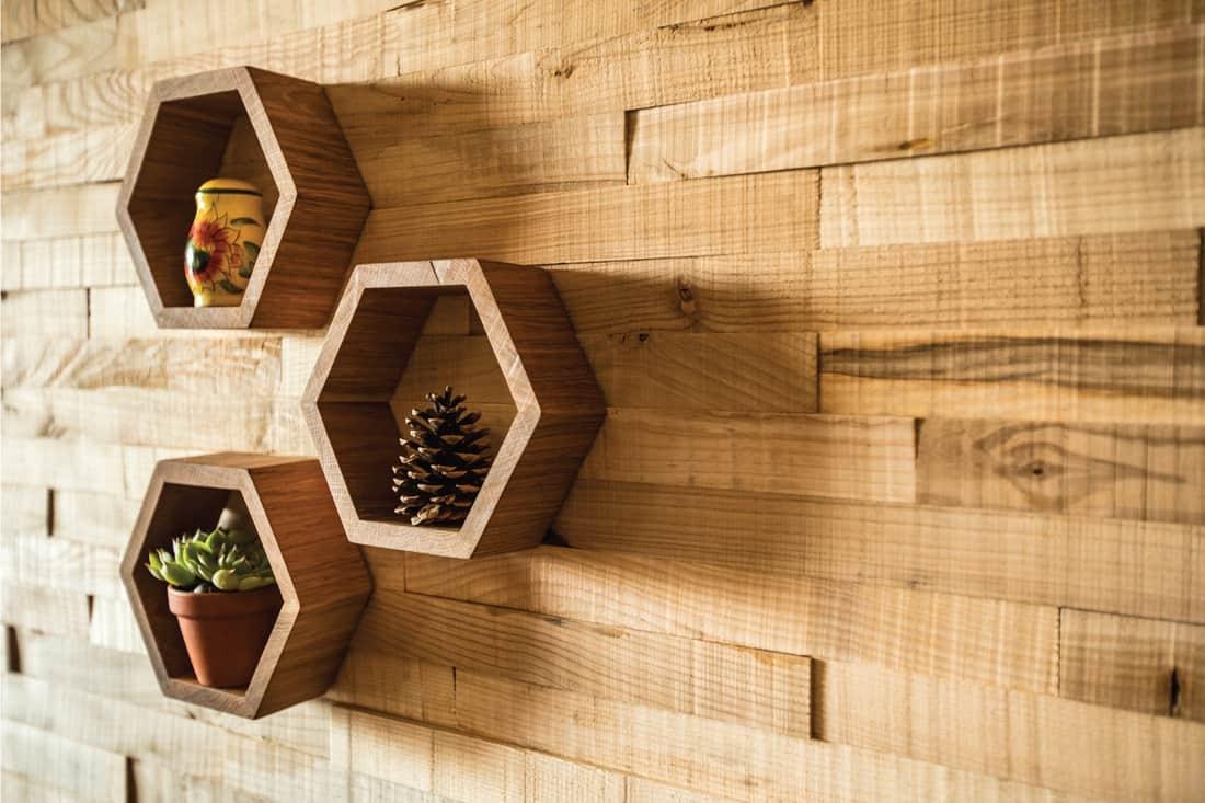 Wooden Shelves in Hexagon Shape. honeycomb shelves