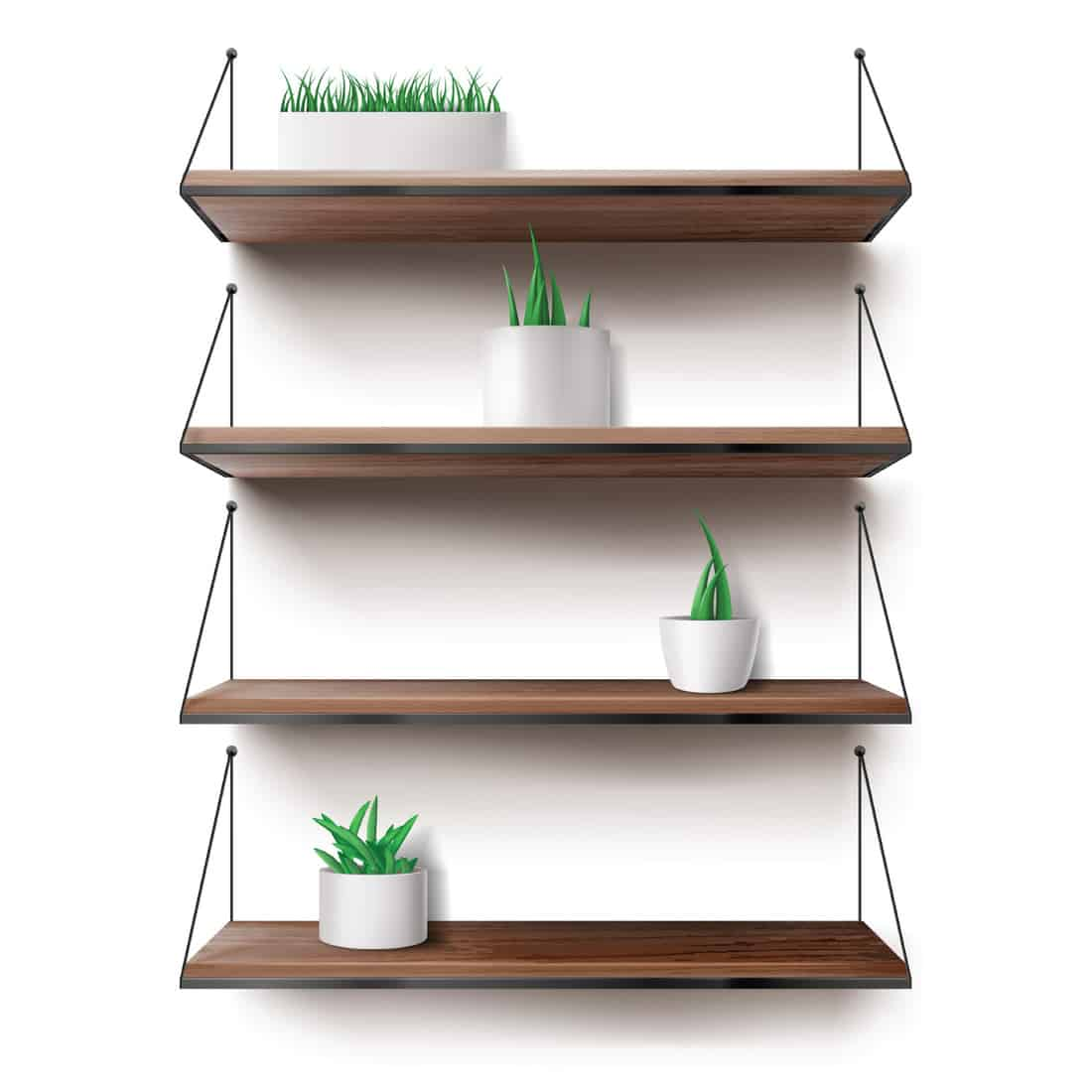 Wooden shelves hanging on ropes with plants in ceramics pots. Front racks on white wall