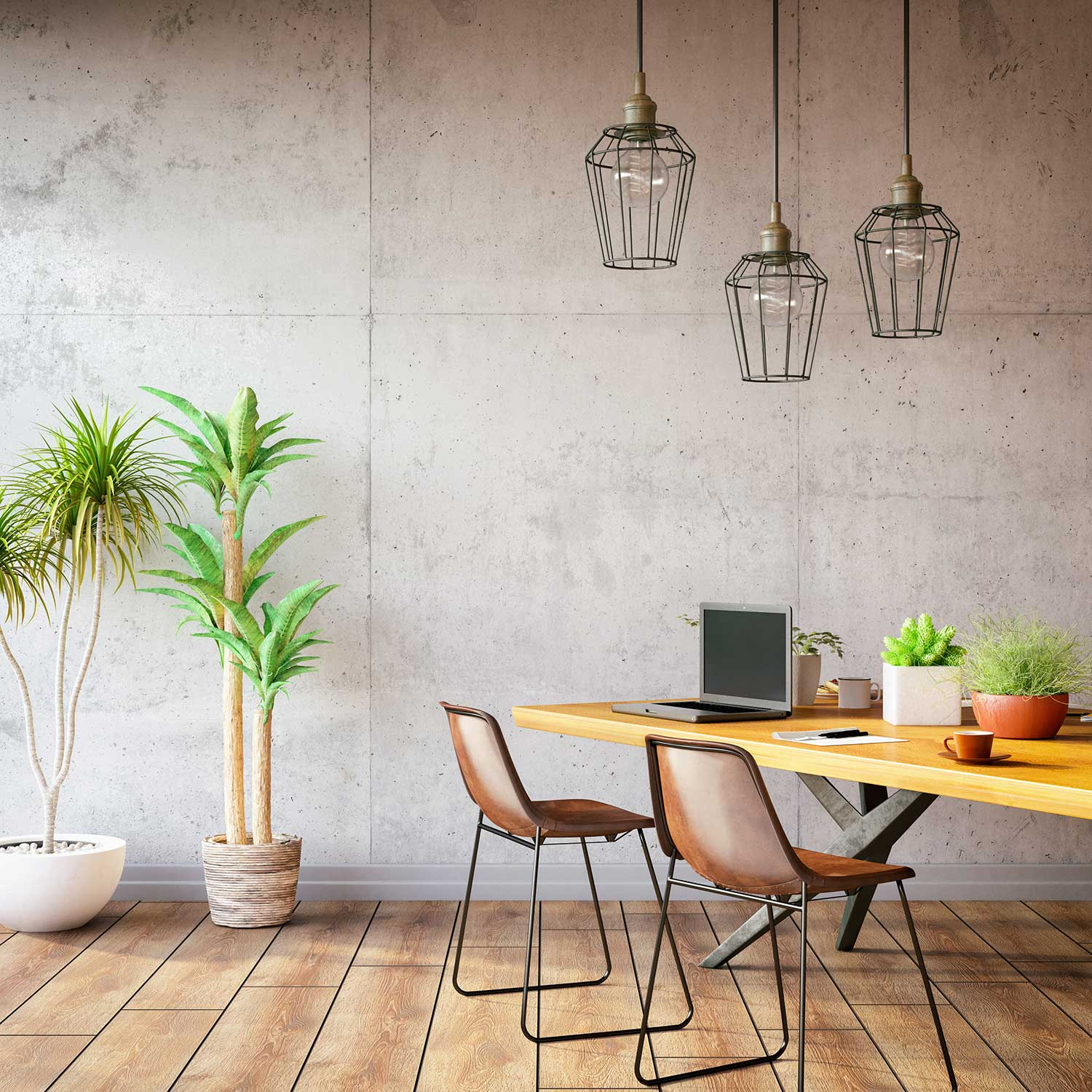 Workspace with plants and desk