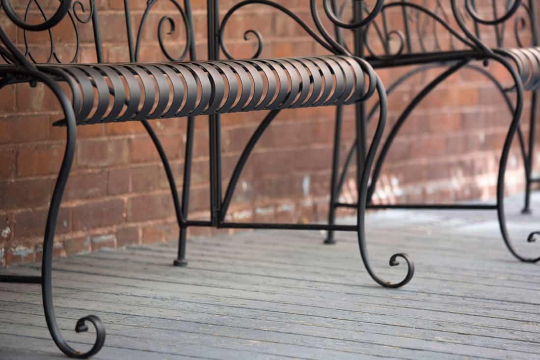 Wrought Iron Bench on Balcony