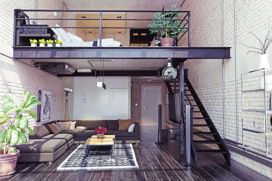attic room with two tier metal loft bedroom