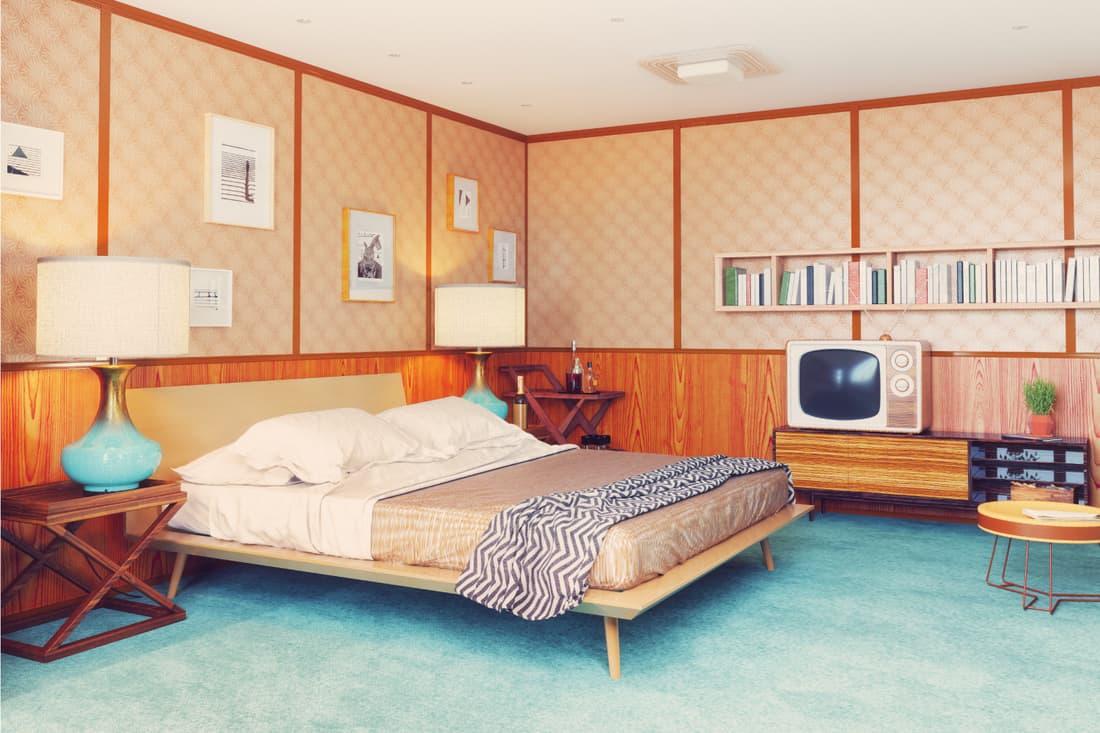 beautiful vintage bedroom interior. wooden walls concept