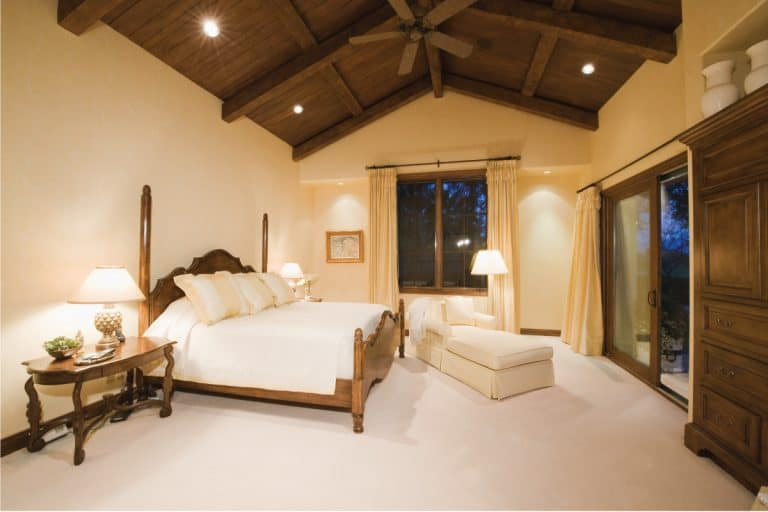 bedroom with wooden high ceiling and tiny spotlights. 11 Cool High Ceiling Lighting Ideas