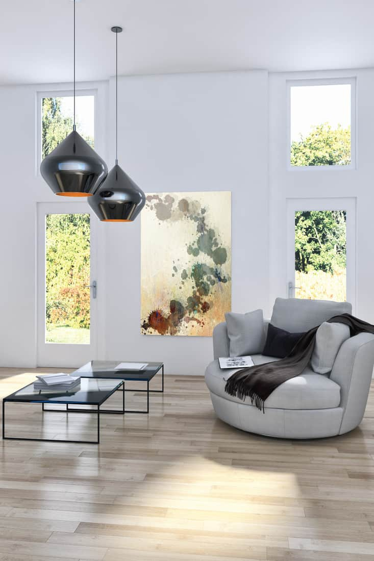 bright living room interior, modern and cozy. pendant lights, loveseat, coffee table