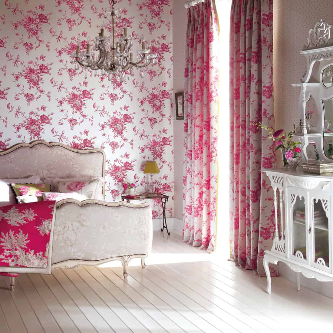 contemporary bedroom with floral pattern wallpaper and curtains with classic style furniture. pretty in pink