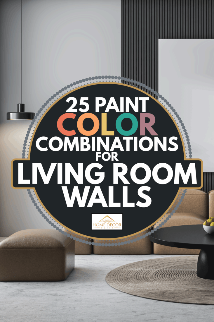dark gray and white living room wall with brown sofa, black center table. 25 Paint Color Combinations For Living Room Walls