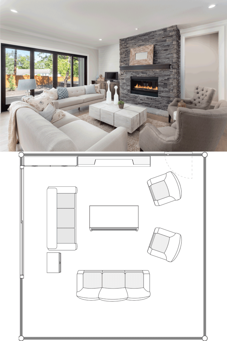 furnished living room in newly constructed luxury home. 20X20 Living Room Layout Ideas