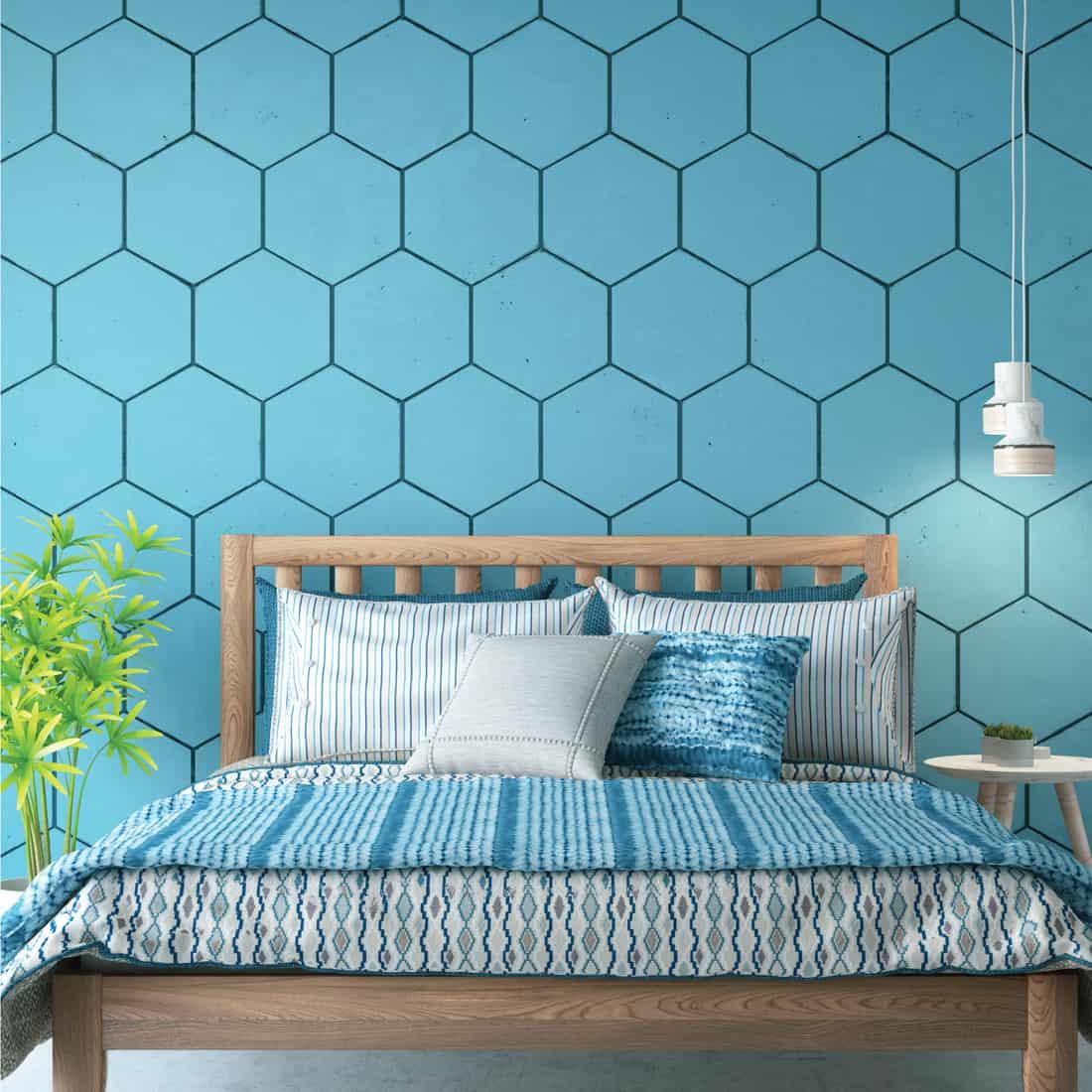 loft bedroom with Hexagon Design wallpaper