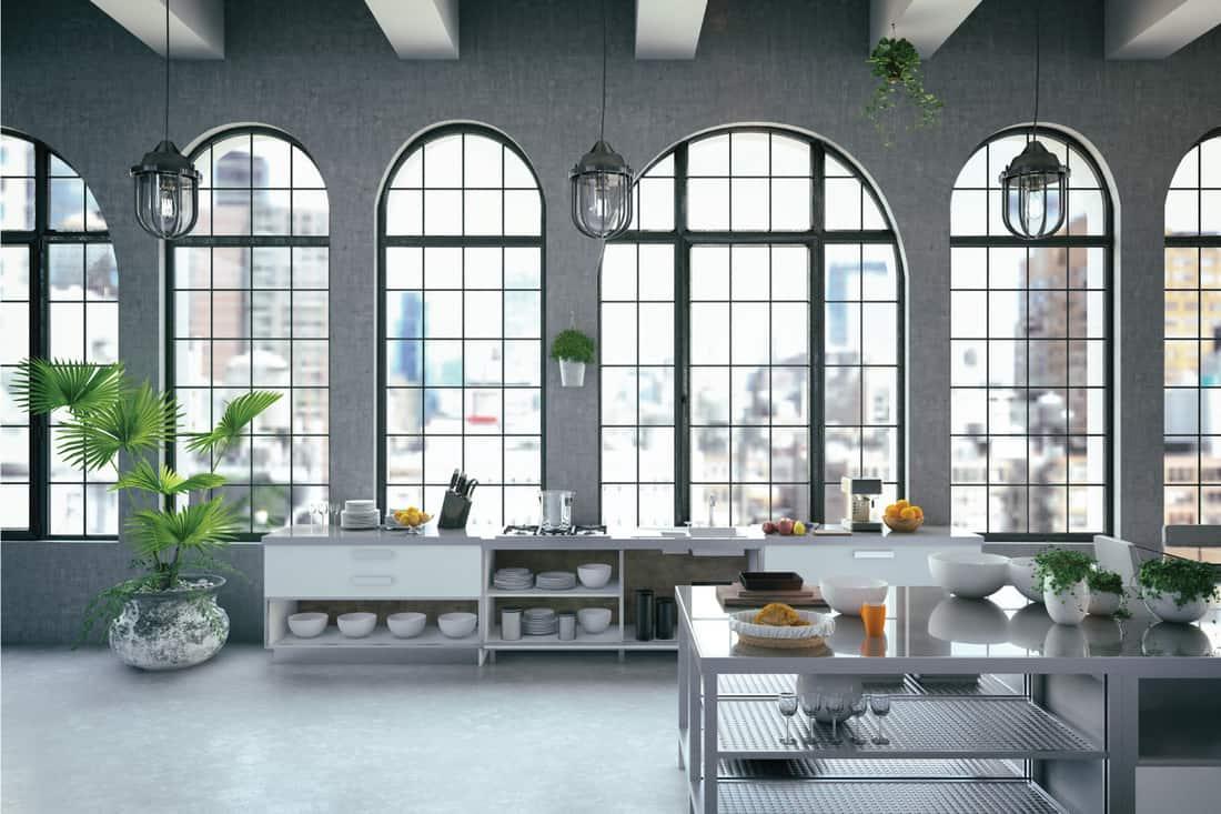 loft kitchen design with Lantern Style ceiling lights