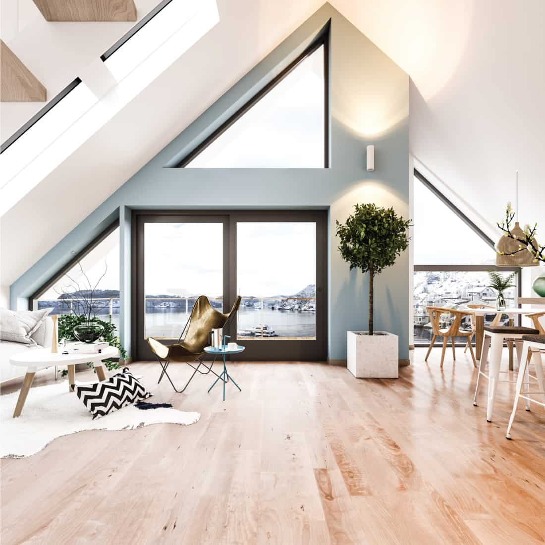 loft style room with open floorplan, expansive window layout, wood and metal furnishings, indoor plants
