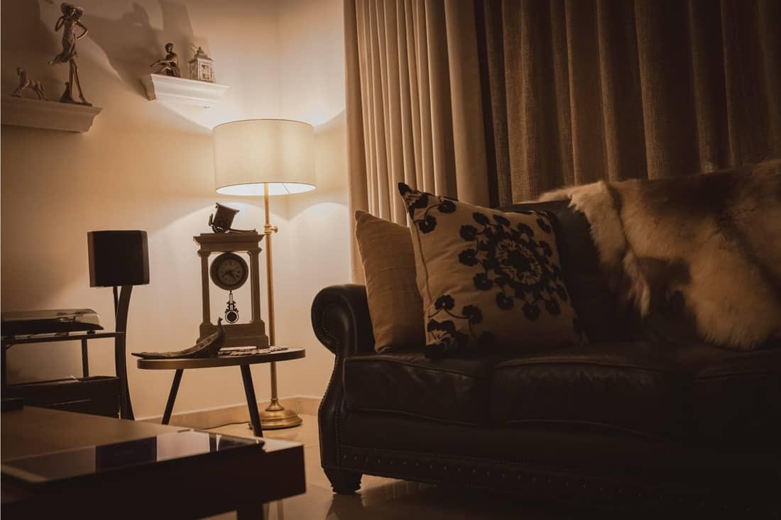 luxury villa with floor lamp to provide mood lighting