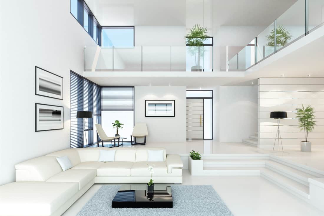 luxury white villa living room interior, White With Black Accents