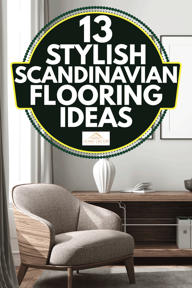 modern living room interior with upholstered seat in brown, carpet on wooden floor, open cabinet. 13 Stylish Scandinavian Flooring Ideas
