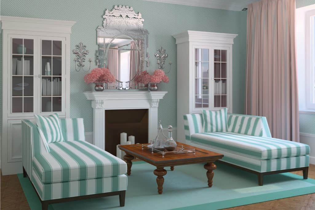 modern living room with Curtains In Pink Or Blue, Furniture In The Other Color