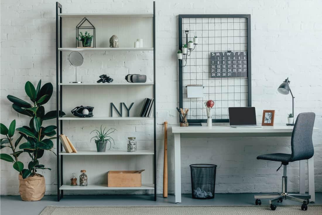 modern office with Repurposed Storage Rack as shelf