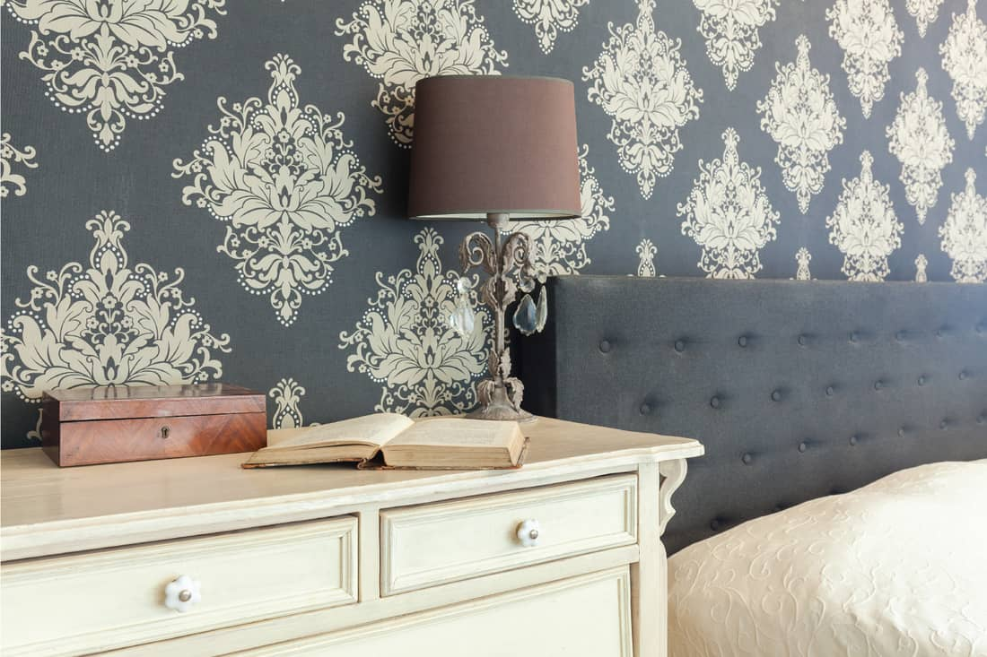 patterned wallpaper in retro interior. detailed floral pattern