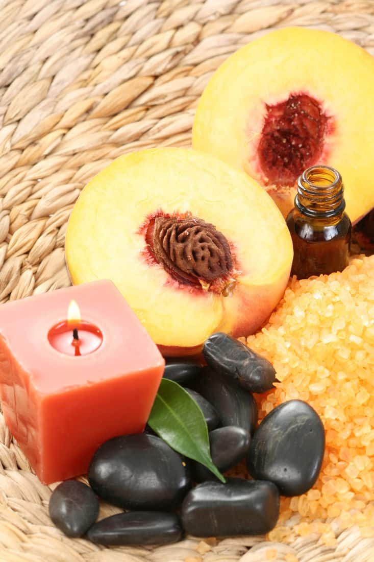 peaches bath with bath salt essential oil and fresh fruits, fruity scented candles