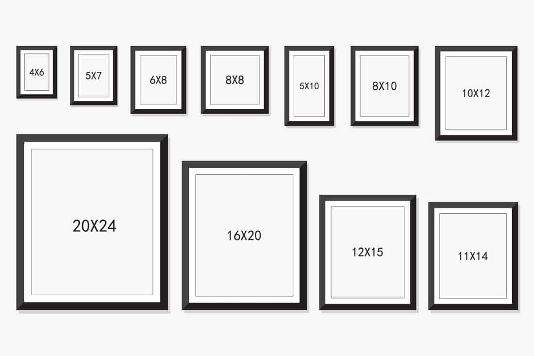 photo and picture frame size isolated on white background,