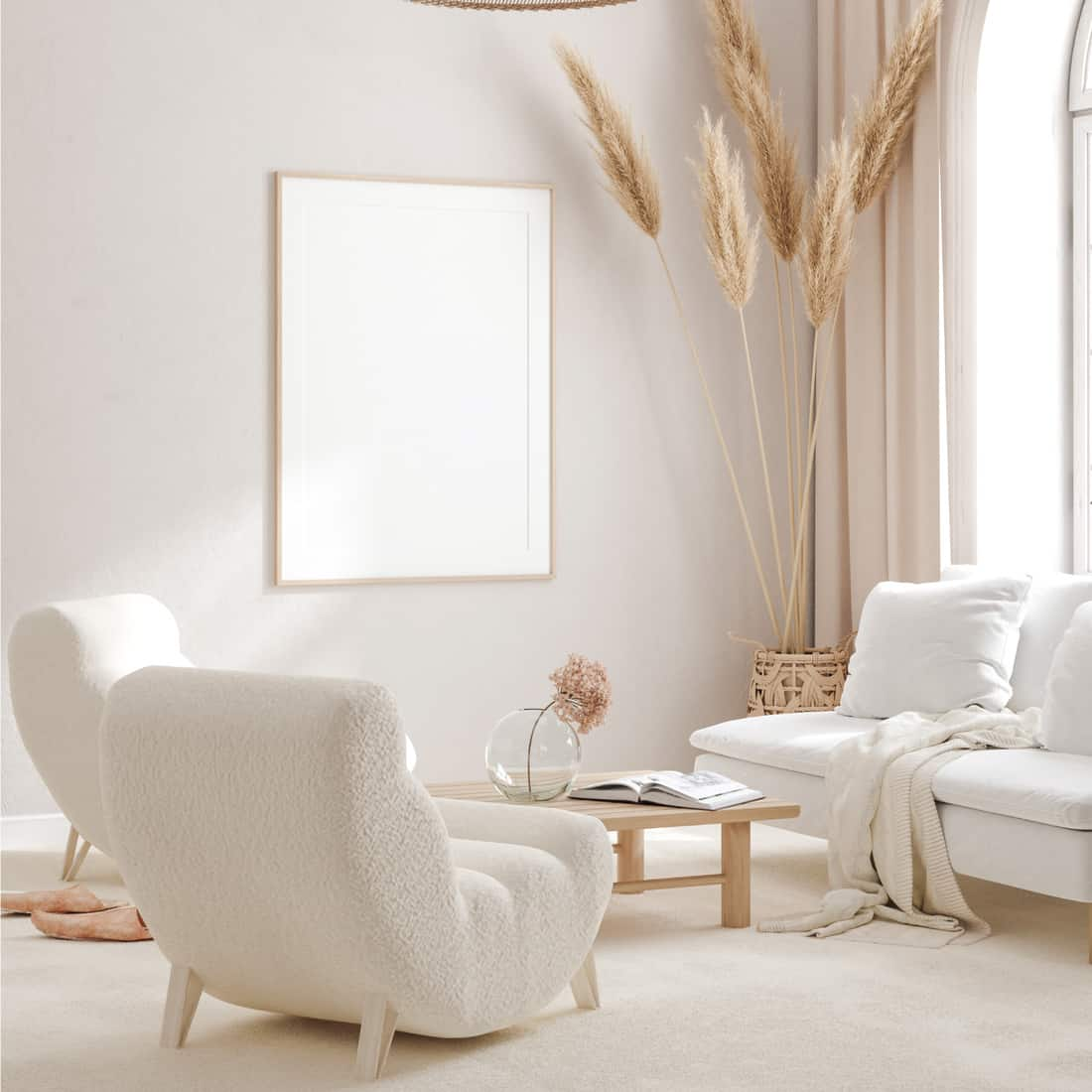 room in light pastel colors, Scandi-Boho style. White With Tan Accents