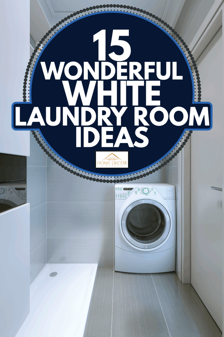 small laundry room with white walls, open cabinets with towels, white washing machine. 15 Wonderful White Laundry Room Ideas