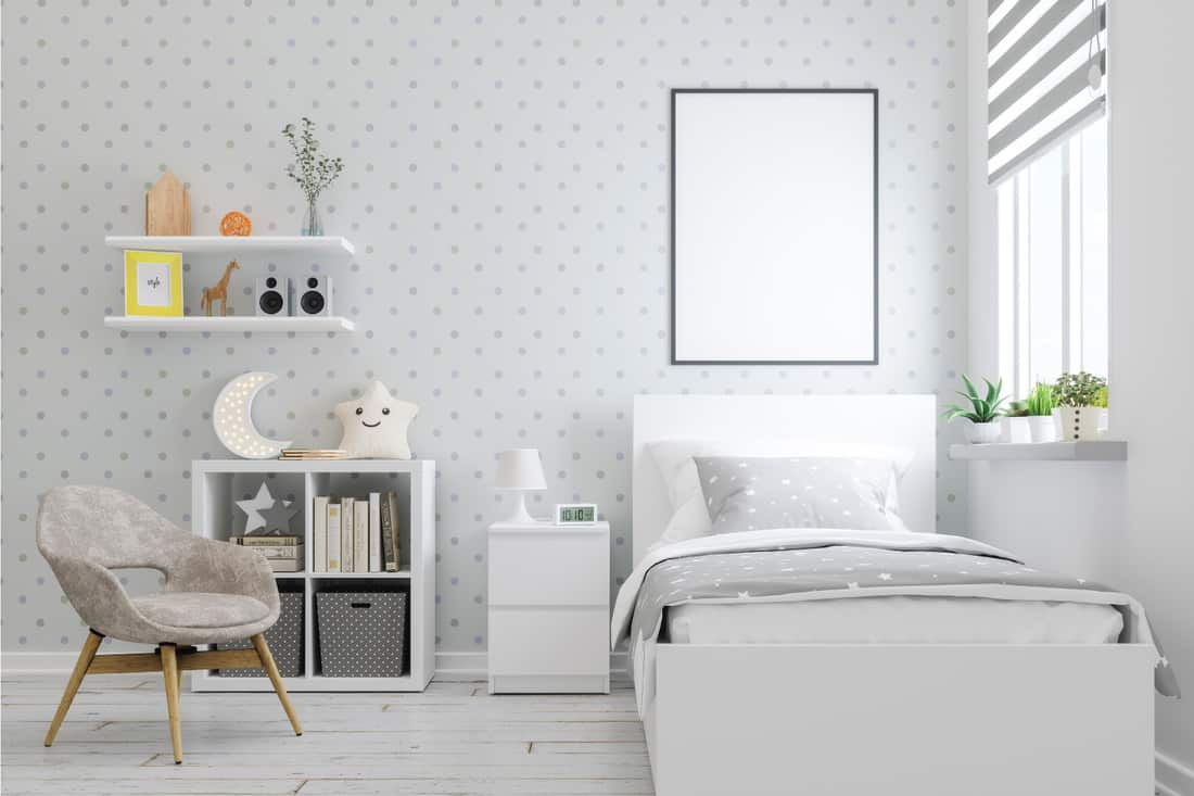 teenage bedroom with Small Polka Dotswallpaper