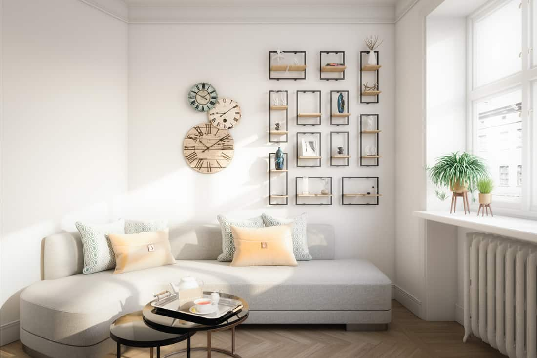 warm and cozy affordable Scandinavian style home interior. smaller white apartment living room