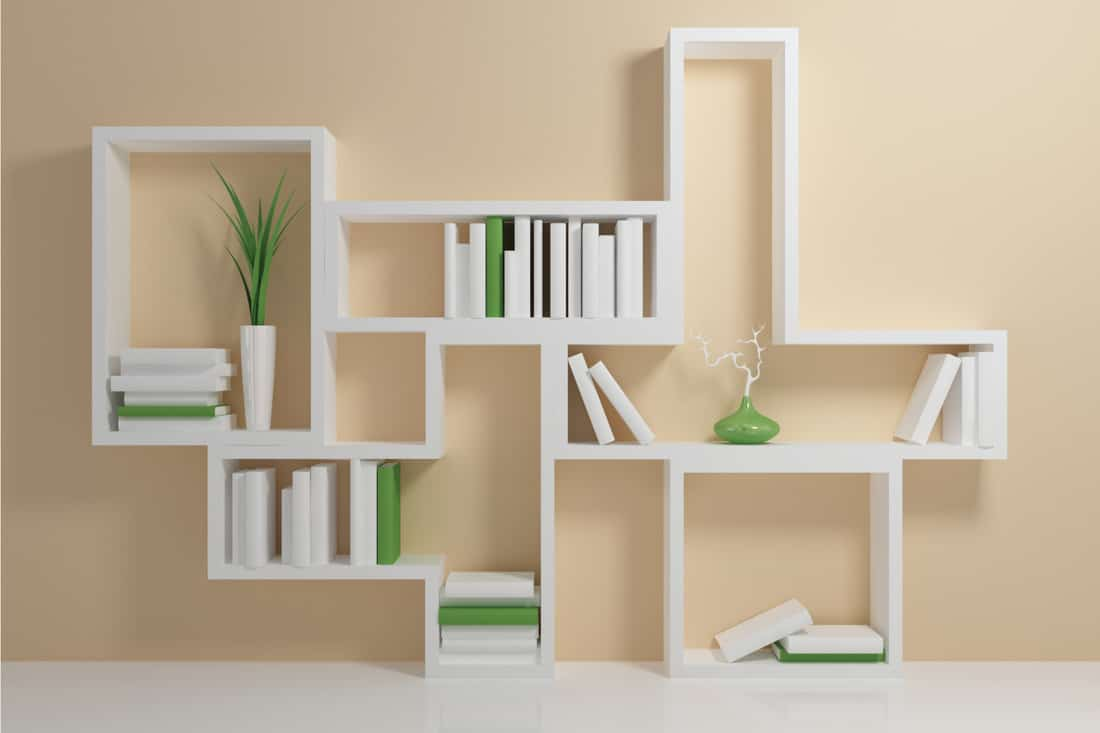 white abstract bookshelf