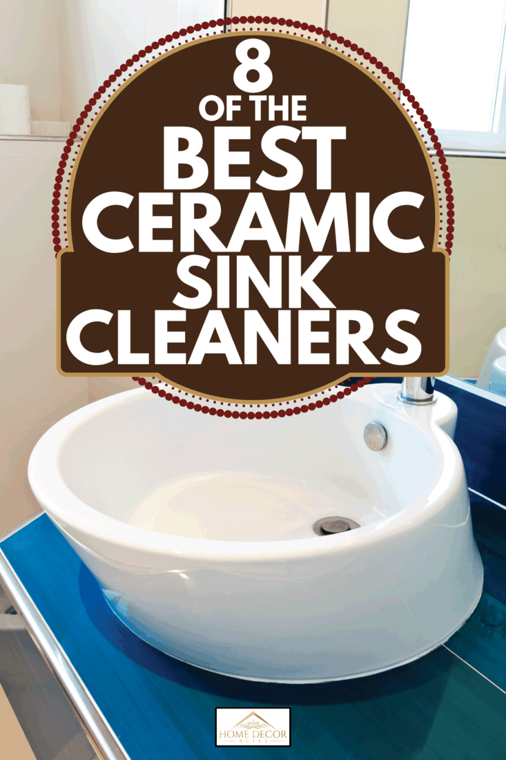 white ceramic bathroom sink on blue countertop with vanity mirror. 8 Of The Best Ceramic Sink Cleaners