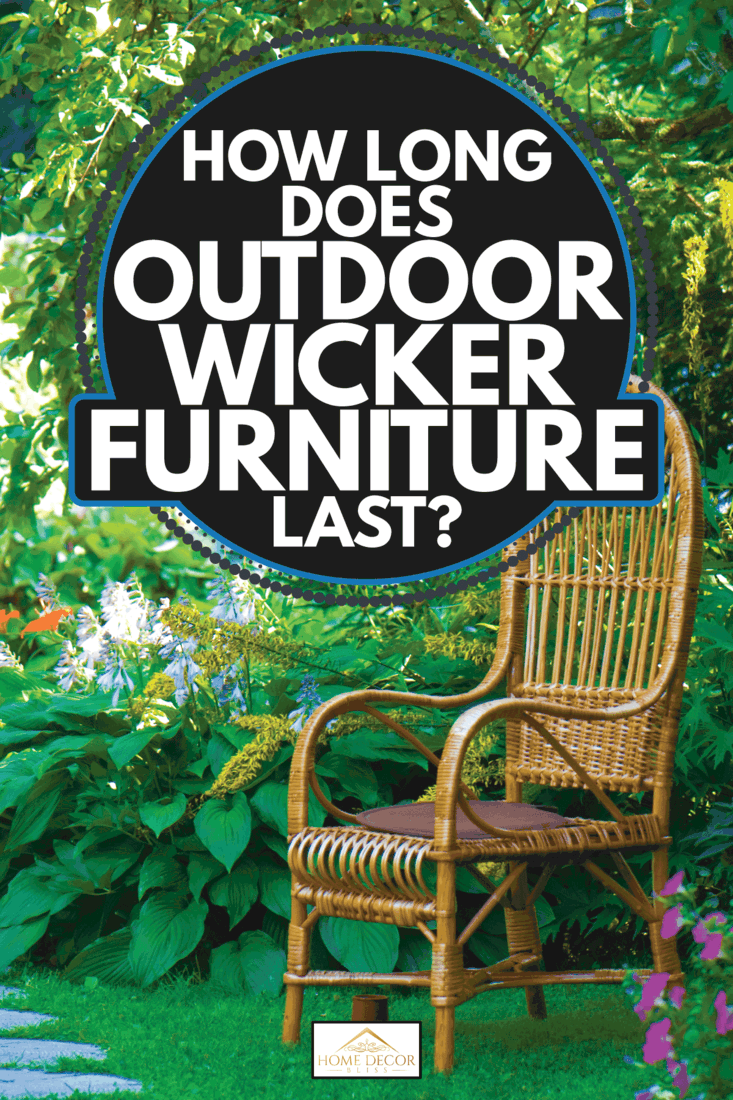 wicker chair in the garden, green plants in the surrounding. How Long Does Outdoor Wicker Furniture Last