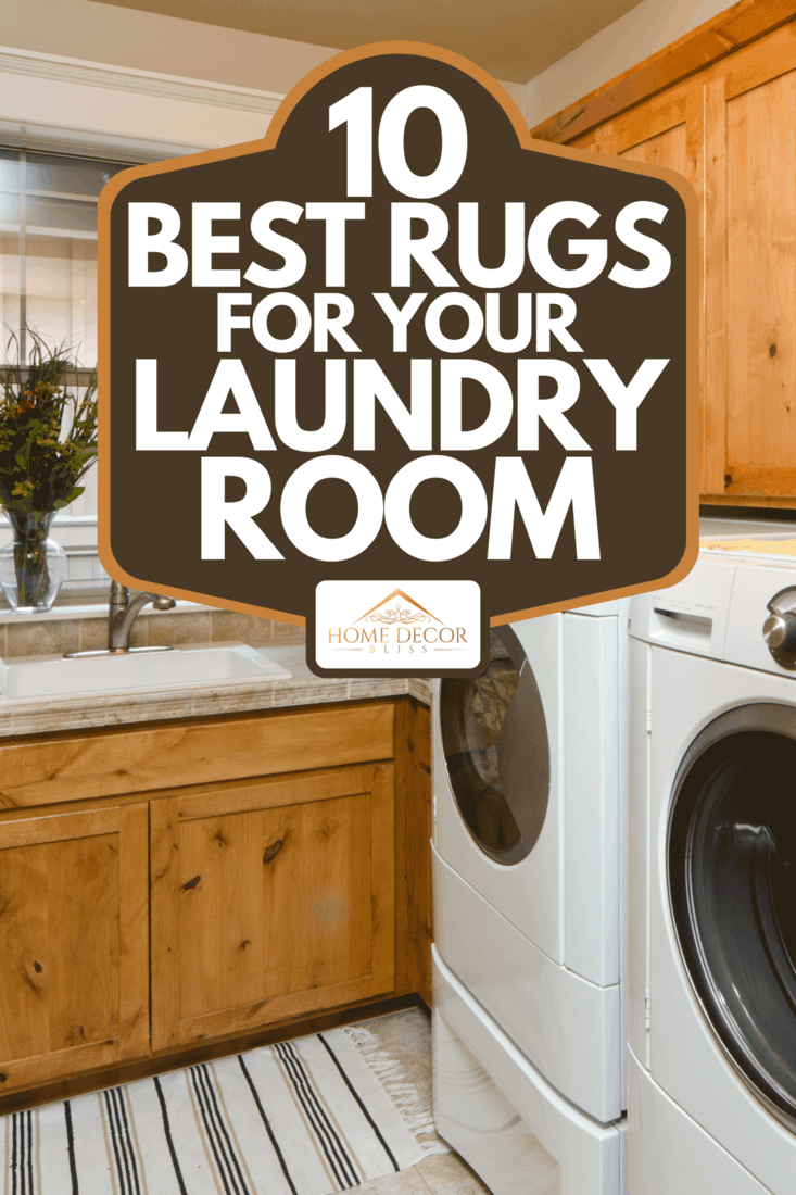 Modern laundry room with front loaders and wooden cabinets, 10 Best Rugs For Your Laundry Room