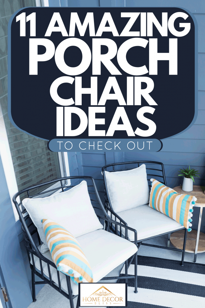 A blue colored porch with metal framed porch chairs with pillows and an end table on the side, 11 Amazing Porch Chair Ideas To Check Out