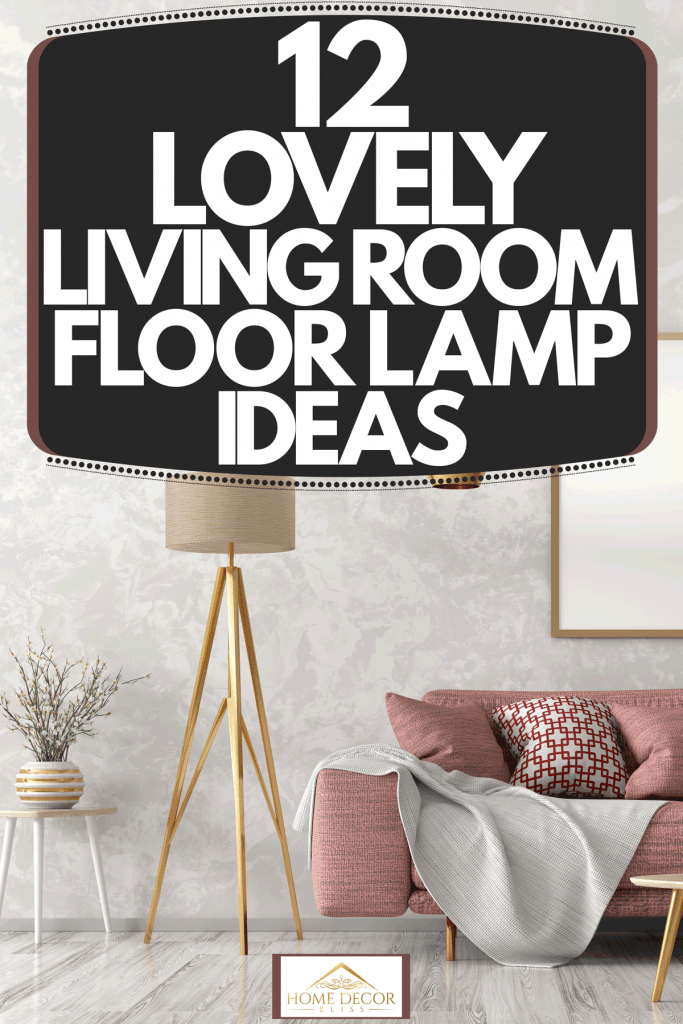 A gorgeous Scandinavian themed living room with a light red colored sofa, patterned throw pillows, and a tall floor lamp, 12 Lovely Living Room Floor Lamp Ideas