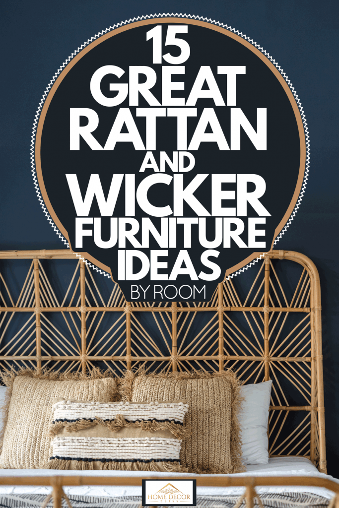 A Rattan bed with gorgeous boho themed and a wicker end table with a plant on top, 15 Great Rattan And Wicker Furniture Ideas [By Room]