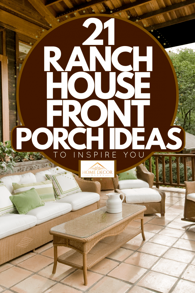 A front porch of a country home with rattan chairs incorporated with white chairs and throw pillows blending the cold and natural environment, 21 Ranch House Front Porch Ideas To Inspire You