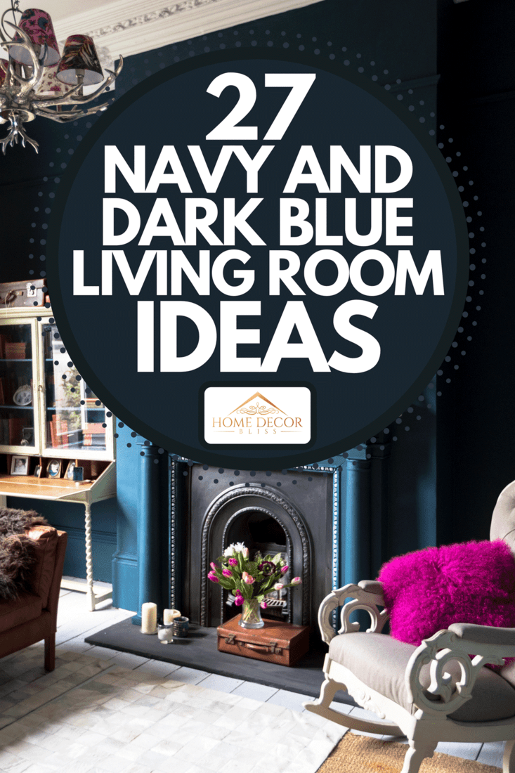 Blue living room with high ceiling, blue wall and vintage decors, 27 Navy And Dark Blue Living Room Ideas