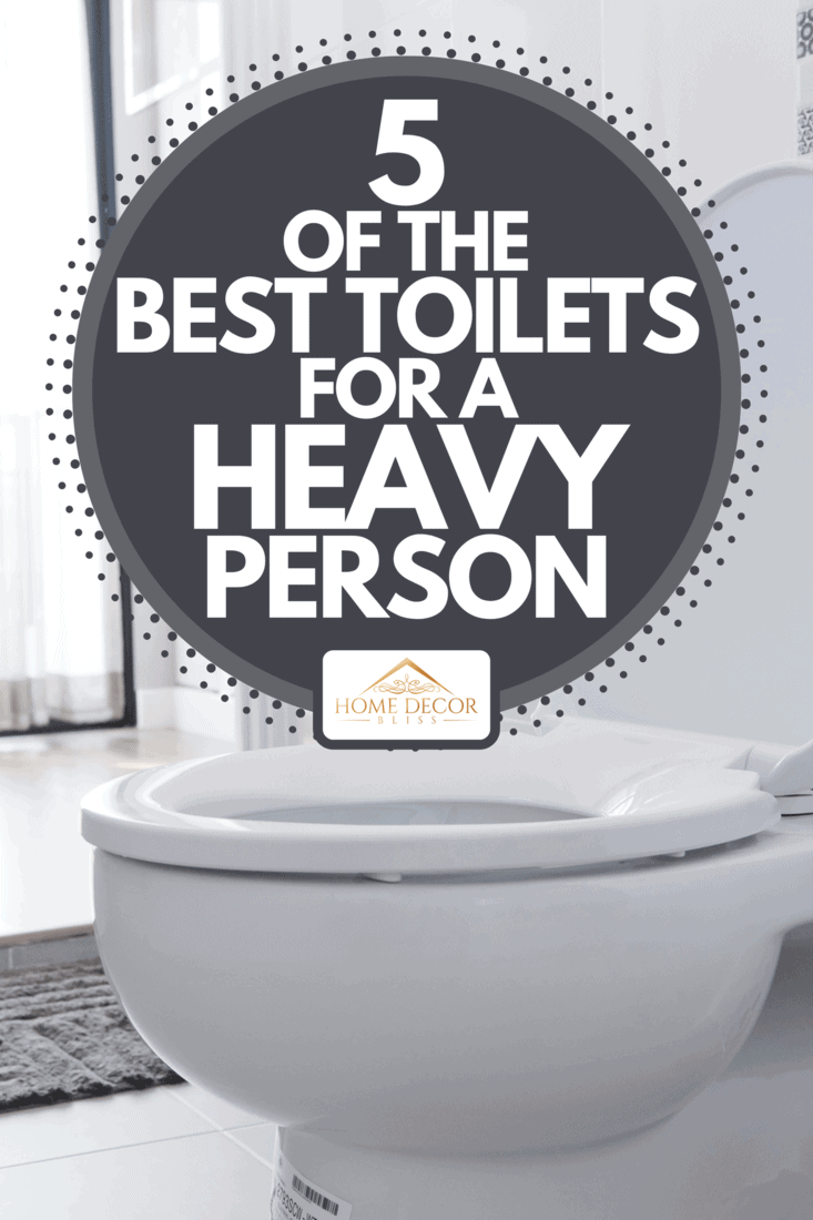 A bright bathroom interior with toilet and gray rug, 5 Of The Best Toilets For A Heavy Person