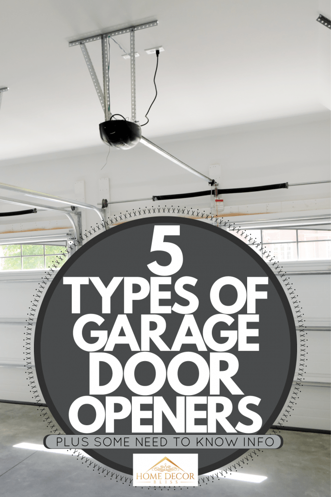 Interior of a garage with two garage door openers, 5 Types Of Garage Door Openers [Plus Some Need To Know Info]