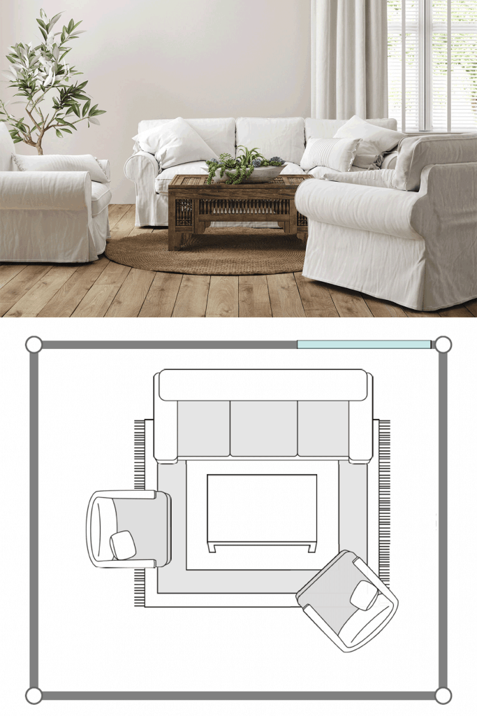 A comfy and cozy living room with white sofas, wooden coffee table, and white painted walls