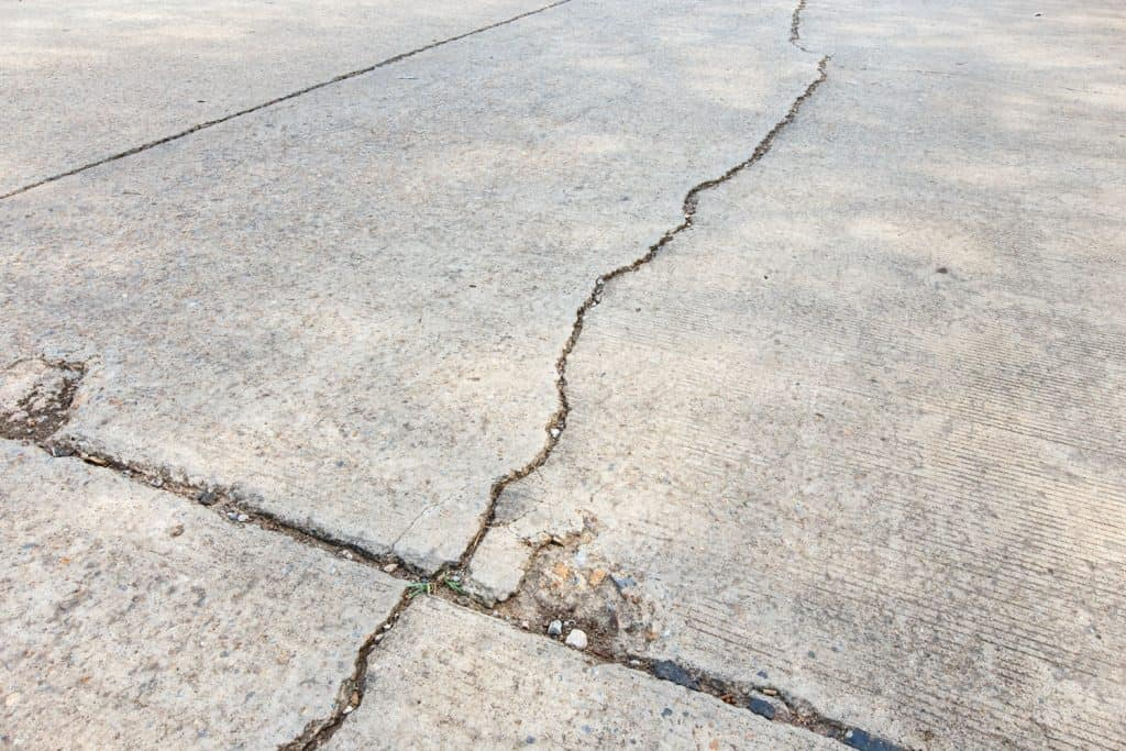A huge and long crack on the road