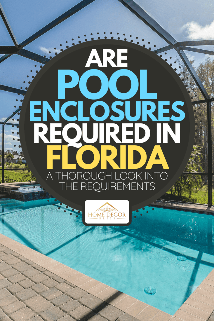 Swimming pool and net enclosure in back of home, Are Pool Enclosures Required In Florida? [A Thorough Look Into The Requirements]