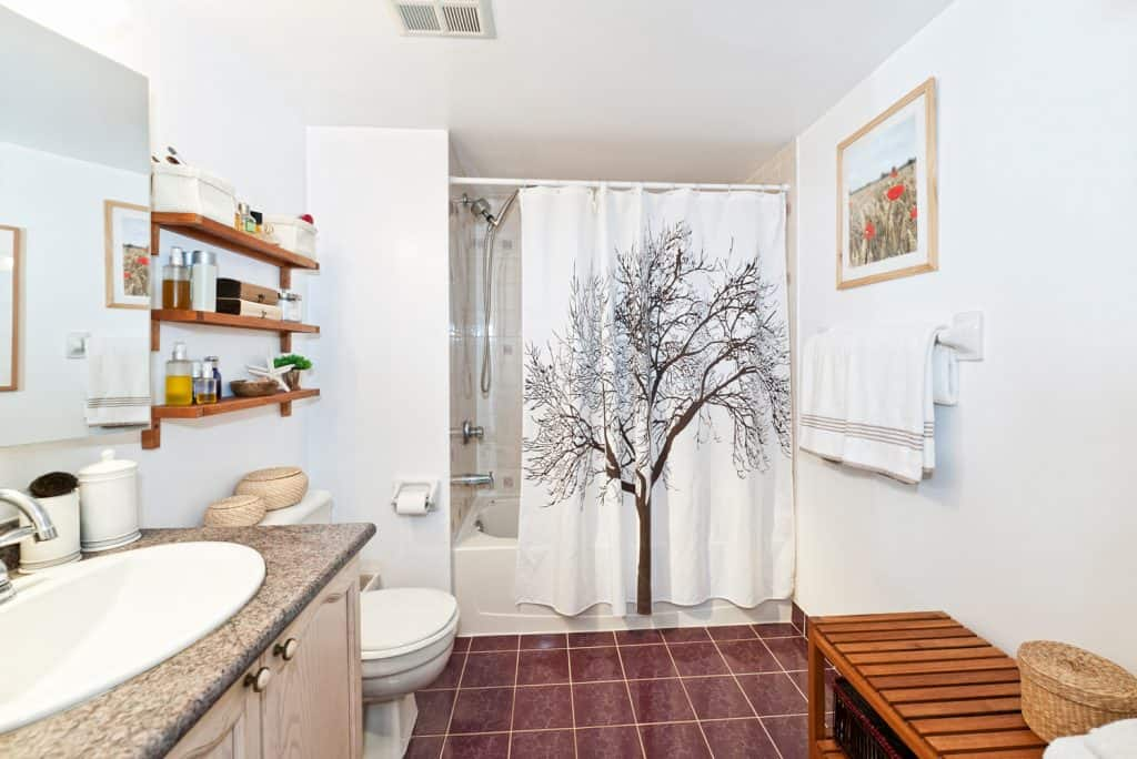 Bathroom interior with an amazing shower curtain