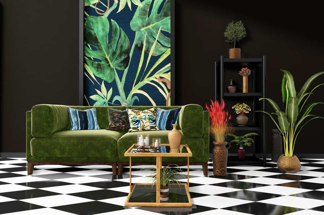 Beautiful Interior design with a jungle printed feature wall, black and white checker tiles and decorative tropical plants, 11 of the Best Tiles for a Living Room Floor