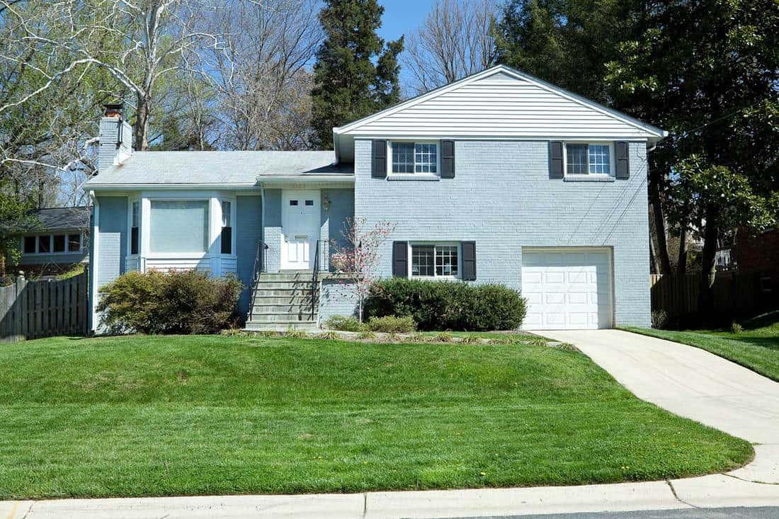 Blue brick single family house