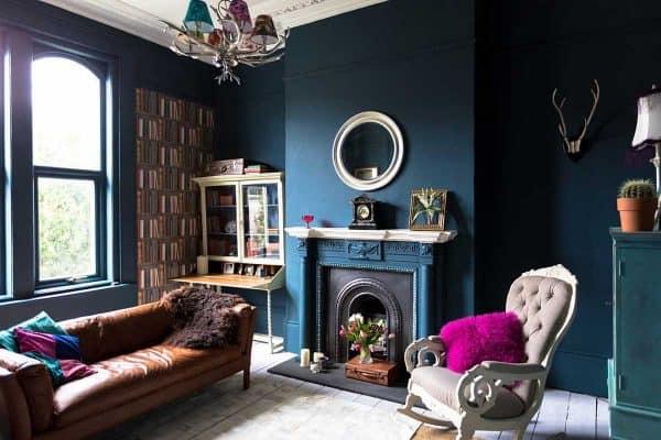 27 Navy And Dark Blue Living Room Ideas
