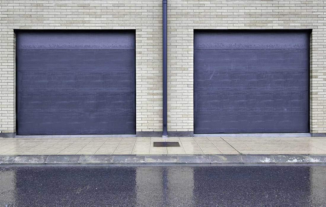 Blue metal doors