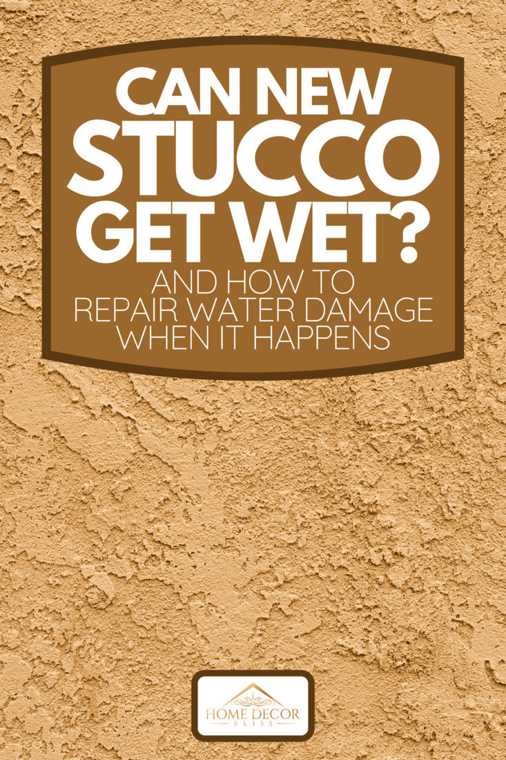 A close-up of a textured Stucco wall, Can New Stucco Get Wet? [And How To Repair Water Damage When It Happens]