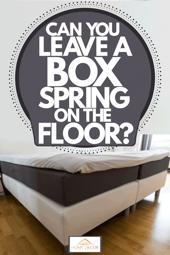 Two box springs bed laid out on a wooden flooring inside a spacious living room, Can You Leave A Box Spring On The Floor?