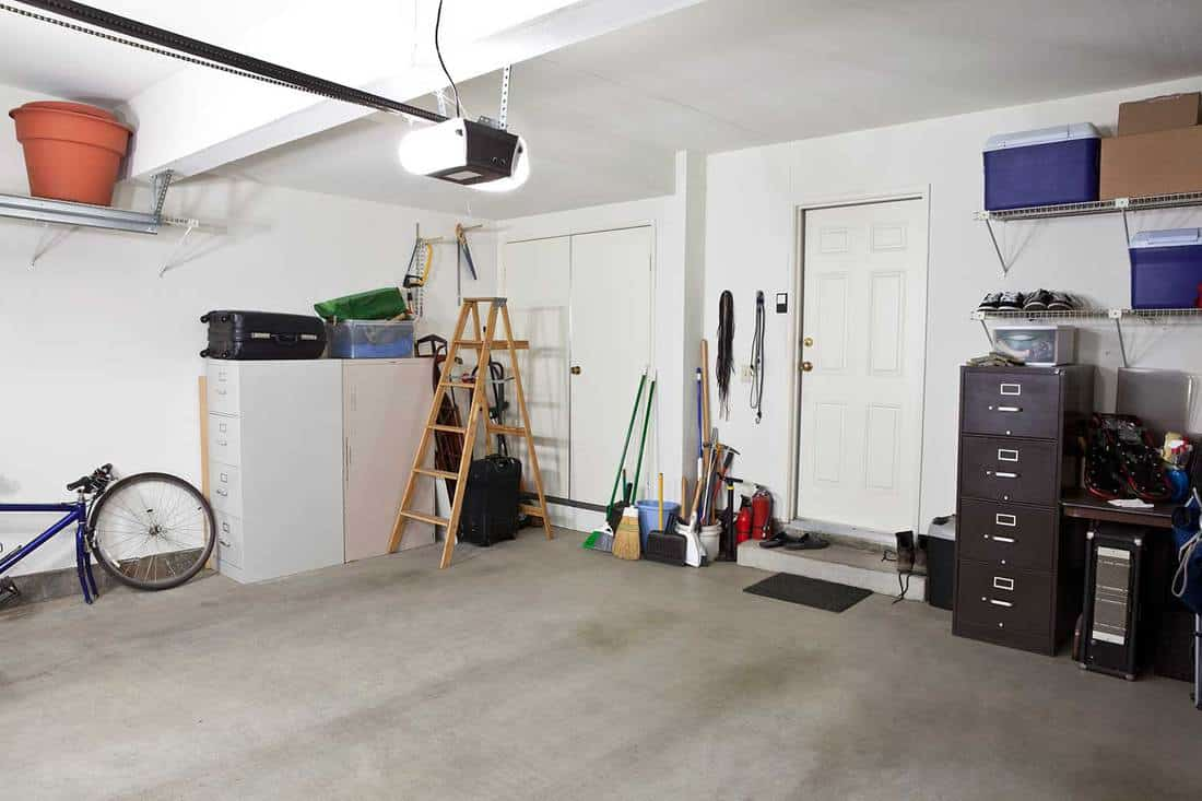 Clean garage with white walls