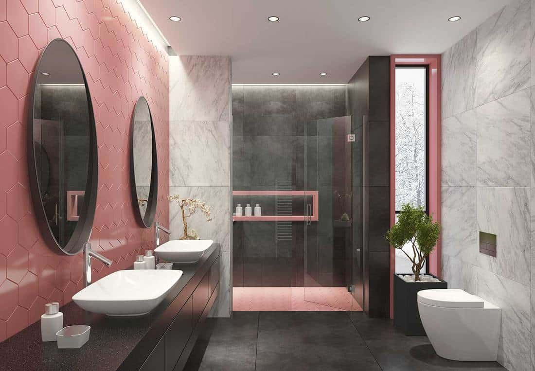 Contemporary bathroom with light pink honeycomb tiles
