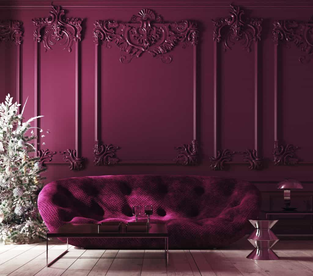 Cozy Christmas home interior with Xmas tree and sofa, Classic style, purple color interior,